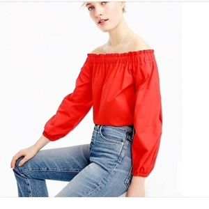 Red J. Crew off the shoulder top